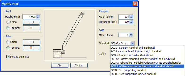 Roof modification dialog box