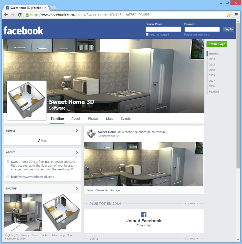 Sweet Home 3D on Facebook