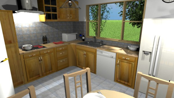 this furniture includes a whole set of very nice wooden cabinets see how it renders with the advanced rendering plug in