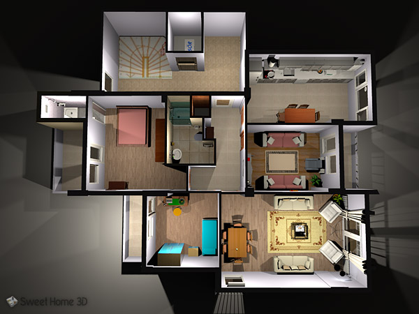 Sweet home 3d draw floor plans and arrange furniture freely for Home plans 3d designs