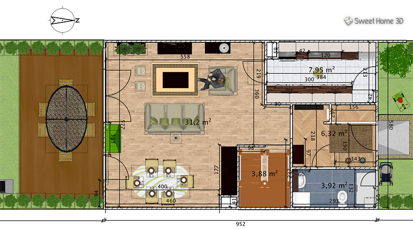 Sweet home 3d for windows 7 design application house 2d for Plattegrond huis ontwerpen