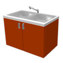 Red cabinet with basin by Ben Omari